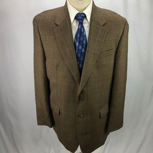 Ralph Lauren Men's Brown Windowpane Blazer 44L